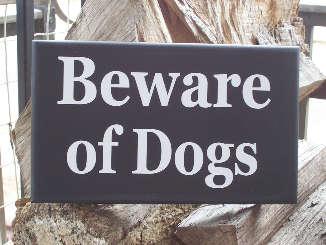Beware of Dogs Wood Vinyl Sign Farmhouse Style Door Hanger Porch Yard Sign Hanger Security Pet Lover Pet Decor Sign Dog Sign Private Home