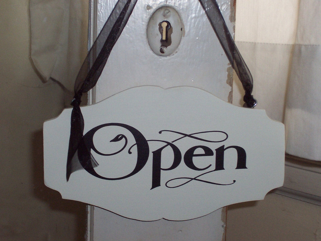 Open Closed Wood Vinyl Sign 2 Sided Sign Welcome Come In Sign Front Door Hanger Wall Hanging Entryway Business Store Office Supply Porch