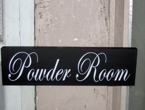 Bathroom Sign Powder Room Sign Wood Sign Vinyl Sign Personalize Business Sign Toilette Door Hanger Indoor Plaque Home Deco Gifts New Home