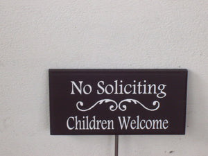 No Soliciting Sign Children Welcome Sign Wood Vinyl Stake Sign Garden Sign Porch Sign Yard Art Girl Scouts Outdoor House Signs Personalized