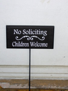 No Soliciting Children Welcome Wood Vinyl Yard Signs Garden Stakes Signs Outdoor Sign Custom Sign Girl Scouts Neighbor Kids New Home Gifts