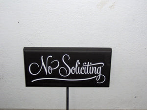 No Soliciting Wood Vinyl Yard Stake Sign Porch Sign Home Decor Garden Decorations Private Property Sign Yard Sign Outdoor House Sign Retro