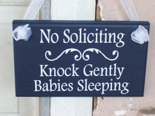 Load image into Gallery viewer, No Soliciting Sign Knock Gently Babies Sleeping Wood Vinyl Sign Navy Blue Baby Sleeping Sign Mother To Be Baby Wall Decor Wall Hanging Decor