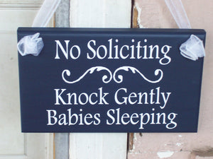 No Soliciting Sign Knock Gently Babies Sleeping Wood Vinyl Sign Navy Blue Baby Sleeping Sign Mother To Be Baby Wall Decor Wall Hanging Decor