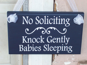 No Soliciting Sign Knock Gently Babies Sleeping Wood Vinyl Sign Navy Blue Baby Sleeping Sign Mother To Be Baby Wall Decor Wall Hanging Decor - Heartfelt Giver