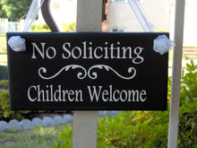 Load image into Gallery viewer, No Soliciting Sign Children Welcome Wood Sign Vinyl Sign Home Entryway Door Hanger Boy Scouts Girl Scouts  Garden Sign Yard Sign Door Sign