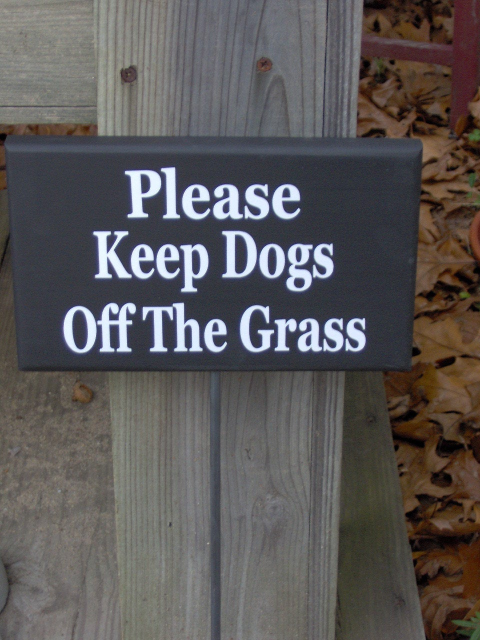 Please Keep Dogs Off Grass Wood Vinyl Stake Sign K9 Pet No Trespassing Private Residence Property Yard Art Garden Stake Yard Sign New Home