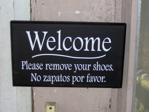 Welcome Please Remove Shoes Wood Vinyl Sign Welcome Sign For Front Porch English Signs Spanish Signs Take Off Shoes Entryway Door Hanger Art