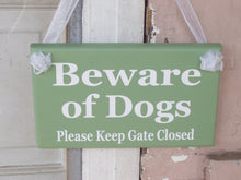 Load image into Gallery viewer, Beware of Dogs Please Keep Gate Closed Wood Vinyl Signs Gate Pet Supplies Dog Owner Gift Exterior Outdoor Signs Everyday Custom Yard Signs