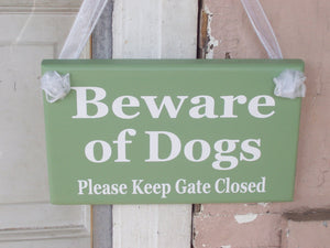 Beware of Dogs Please Keep Gate Closed Wood Vinyl Signs Gate Pet Supplies Dog Owner Gift Exterior Outdoor Signs Everyday Custom Yard Signs - Heartfelt Giver