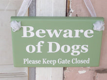 Load image into Gallery viewer, Beware of Dogs Please Keep Gate Closed Wood Vinyl Signs Gate Pet Supplies Dog Owner Gift Exterior Outdoor Signs Everyday Custom Yard Signs - Heartfelt Giver