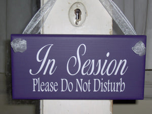 In Session Sign Please Do Not Disturb Purple Wood Vinyl Plaque Whimsical Cottage Style Design Door Home Business Office Supply Decor Salon