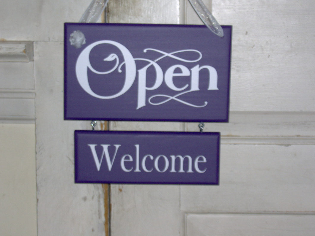 Open Welcome Closed Please Come Again Wood Vinyl Sign Whimsical Purple Shabby Two Tier Two Sided Plaque Hair Salon Signs Massage Beauty Sign