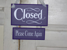 Load image into Gallery viewer, Open Welcome Closed Please Come Again Wood Vinyl Sign Whimsical Purple Shabby Two Tier Two Sided Plaque Hair Salon Signs Massage Beauty Sign