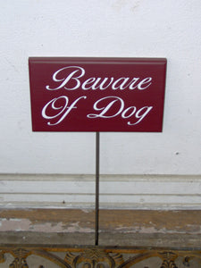 Beware of Dog Wood Sign Vinyl Yard Stake Sign Red Yard Sign Property Dog Lover Gift Outdoor Sign Garden Sign Dog Sign Dog Decor Pet Supplies - Heartfelt Giver