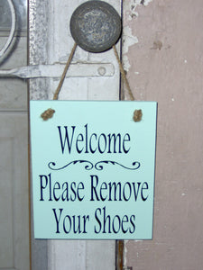 Welcome Sign Please Remove Your Shoes Wood Vinyl Sign Seafoam Beach Family Friends Home Decor Sign Wreath Door Hanger Interior Design Gift
