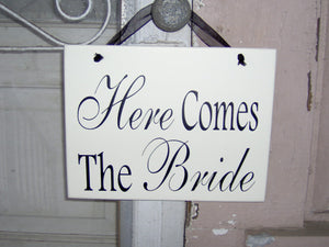 Wedding Sign Here Comes The Bride Wood Vinyl Sign Flower Girl Ring Bearer Wedding Plaque Photo Prop Supplies Unique Gift Bridal Shower Decor - Heartfelt Giver
