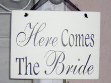 Load image into Gallery viewer, Wedding Sign Here Comes The Bride Wood Vinyl Sign Flower Girl Ring Bearer Wedding Plaque Photo Prop Supplies Unique Gift Bridal Shower Decor - Heartfelt Giver