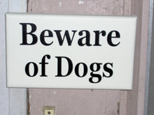 Load image into Gallery viewer, Beware of Dogs Wooden Signs Vinyl Sign Dog Lover Sign Dog Gift Front Door Sign Garage Sign Yard Sign Porch Sign Wall Hanging Wall Decor Art