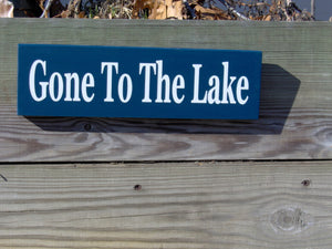 Gone To The Lake Wood Vinyl Sign Navy Blue Door Sign Wall Plaque Wall Decor Door Decor Porch Signs Cottage New Home Decor Wood Block Sign