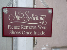Load image into Gallery viewer, No Soliciting Please Remove Shoes Once Inside Wood Sign Vinyl Country Red Home Decor Door Hanger Wall Decor Wall Sign Plaque Take Off Shoes