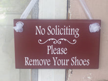 Load image into Gallery viewer, No Soliciting Please Remove Shoes Wood Vinyl Sign Take Off Shoes Door Hanger Wooden Signs Custom Wall Hanging Wall Signs Front Door Decor