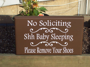 No Soliciting Shh Baby Sleeping Please Remove Shoes Wood Vinyl Sign Take Off Shoes New Mom Gift Front Door Sign Baby Shower Gift Wall Sign