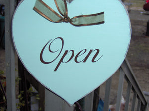 Open Closed Heart Wood Vinyl Sign Plaque Farmhouse Distressed Business Sign Office Supply Entry Door Hanger Spa Massage Therapy Salon Signs - Heartfelt Giver