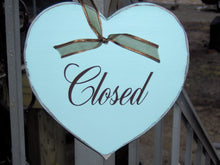 Load image into Gallery viewer, Open Closed Heart Wood Vinyl Sign Plaque Farmhouse Distressed Business Sign Office Supply Entry Door Hanger Spa Massage Therapy Salon Signs
