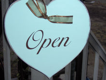 Load image into Gallery viewer, Open Closed Heart Wood Vinyl Sign Plaque Farmhouse Distressed Business Sign Office Supply Entry Door Hanger Spa Massage Therapy Salon Signs - Heartfelt Giver