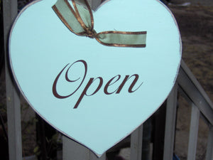Open Closed Heart Wood Vinyl Sign Plaque Farmhouse Distressed Business Sign Office Supply Entry Door Hanger Spa Massage Therapy Salon Signs
