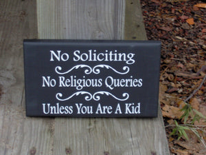 No Soliciting No Religious Queries Unless Kid Wood Vinyl Signs Girl Scouts  Entryway Decor Porch Sign Front Door Decor Yard Sign Door Sign - Heartfelt Giver