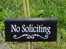 Load image into Gallery viewer, No Soliciting Yard Sign Wood Sign Outdoor Sign Wooden Vinyl Stake Sign Plaque Do Not Disturb Patio Decor Porch Sign Modern Sign Garden Decor