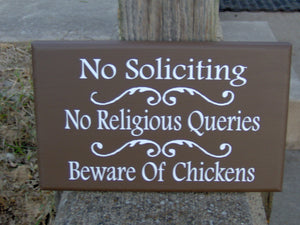 No Soliciting No Religious Queries Beware of Chicken Wood Vinyl Sign Brown Hen Rooster Freen Range Chicken Coop Farm Outdoor Sign Decor Chic