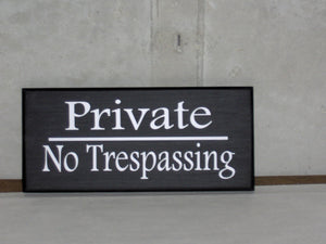 Private No Trespassing Wood Sign Vinyl Keep Out Strangers Home Residence Business Door Wall Fence Gate Hanger Outdoor Yard Decor Wooden Sign