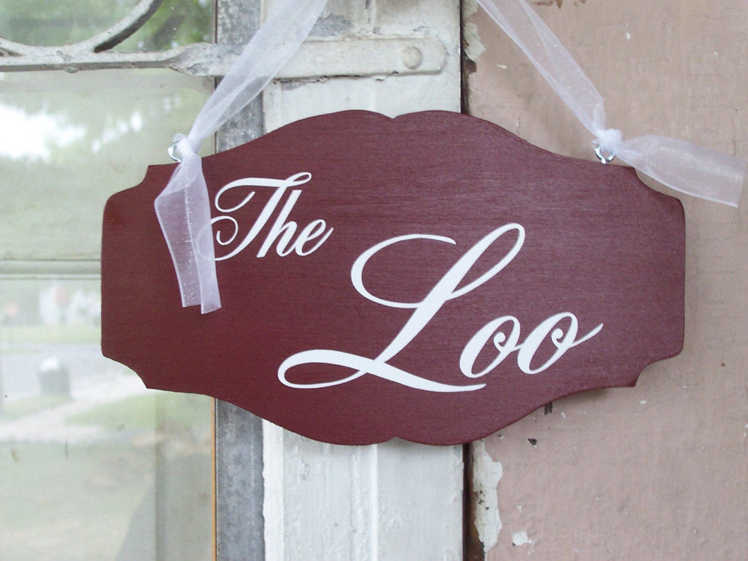 The Loo Wood Vinyl Sign Whimsical Decor Bathroom Signs Restroom Powder Room Washroom Sign Home Decor Rustic Red Door Hanger Direction Signs