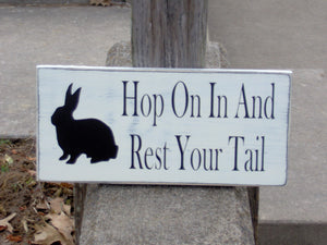 Rabbit Silhouette Hop On In And Rest Your Tail Wood Vinyl Sign - Distressed Cottage White Door Wall Hang Spring Summer Porch Home Decor Sign - Heartfelt Giver