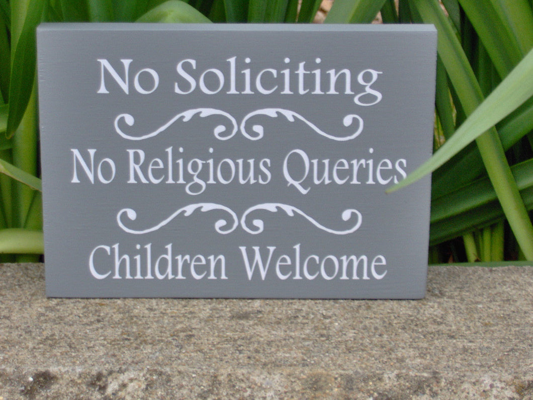 No Soliciting No Religious Queries Children Welcome Wood Vinyl Sign Do Not Disturb Girl Scouts Boy Scouts Neighbors Door Hanger Porch Sign