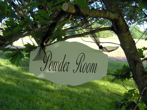 Bathroom Door Decor Powder Room Wood Vinyl Sign Interior Directional Bathroom Sign Elegant Design For Parties Family Gatherings Cottage Feel