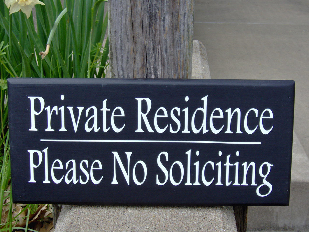 Private Residence Please No Soliciting Wood Signs Vinyl Sign Keep Out Strangers Home Door Decor Driveway Garage Porch Outdoor Wall Hanging