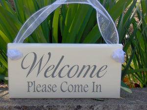 Welcome Please Come In Wood Vinyl Sign Door Hanger Office Supplies Business Sign Office Decor Office Sign Housewarming Porch Sign Wall Decor