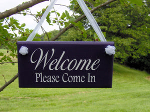 Welcome Please Come In Wood Vinyl Welcome Sign Home Business Sign Office Supply Purple Door Hanger Office Decor Custom Grand Opening Signs - Heartfelt Giver