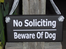 Load image into Gallery viewer, No Soliciting Sign Beware Of Dog Sign Wood Vinyl Sign Gate Sign Fence Sign Garden Sign Door Hanger Private Sign Home Sign No Solicitation
