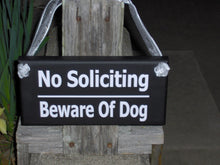 Load image into Gallery viewer, No Soliciting Sign Beware Of Dog Sign Wood Vinyl Sign Gate Sign Fence Sign Garden Sign Door Hanger Private Sign Home Sign No Solicitation - Heartfelt Giver
