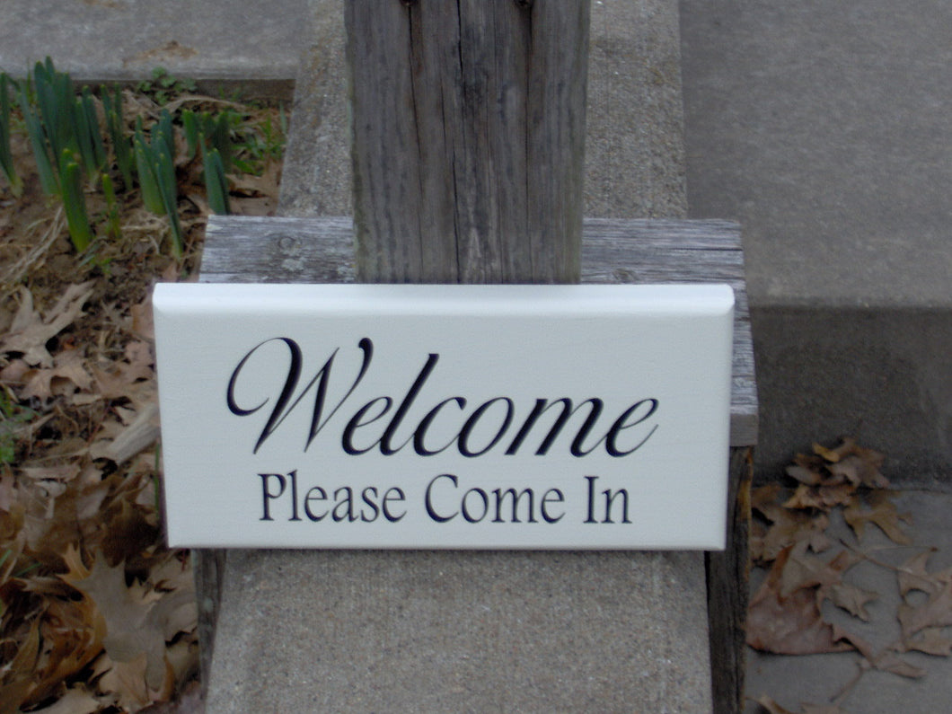 Welcome Please Come In Wood Vinyl Sign For Home Business Sign Office Supplies Wooden Door Hanger Grand Opening Gift Entry Sign Porch Sign - Heartfelt Giver