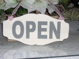 Open Sign Closed Wood Vinyl Sign Reversible Door Sign Front Door Decor Wreath Sign Office Decor Business Signs Salon Spa Massage Therapy Art - Heartfelt Giver