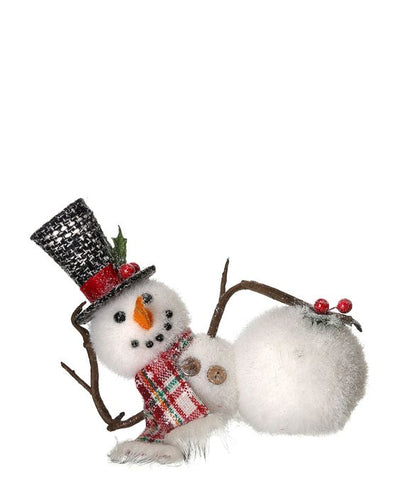 Laying Down Snowman Tree Ornament Lazy Snowman Tree Decor - Heartfelt Giver