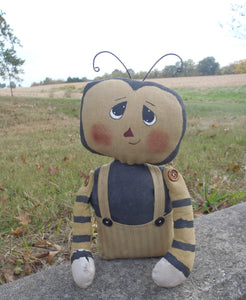 Bumble Bee Doll Primitive Country Farmhouse Collectible Cloth Fabric - Heartfelt Giver