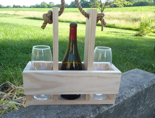 Wine Caddy Carrier Unpainted Unfinished Select Pine Board - Heartfelt Giver