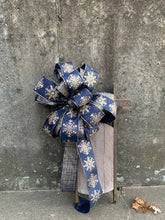 Load image into Gallery viewer, Winter Bow Wired Ribbon Accent Bow for Wreaths Centerpieces Lanterns Garlands Door Hanger